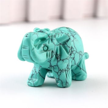 Opal Opalite Tiger eye Elephant Natural stone carved 1.5inch Figurine Chakra Bead Healing Crystal Reiki Feng Shui Free Pouch