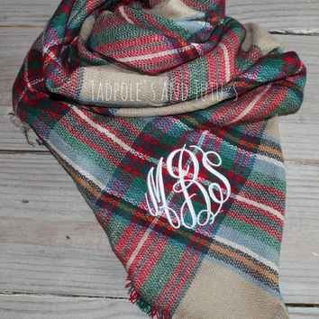 Personalized Plaid Monogrammed Blanket Scarves