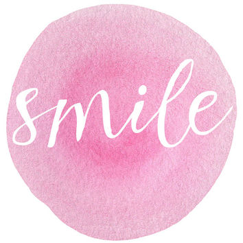 8x10 Printable Wall Art Smile quote pink watercolor dot art inspiration quote print wall art typography art INSTANT DOWNLOAD
