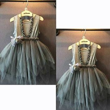 2015 Girls Clothes Kids Vintage Gray Sleeveless Tulle Dress Kids Party Dress 2-7