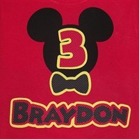 Customized Disney Inspired Mickey Mouse Birthday T-Shirt with Bow Tie
