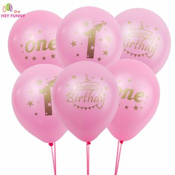 20pcs 10 inch happy birthday party decorations kids boys girls 1st birthday latex balloons festival balls baby shower party supp