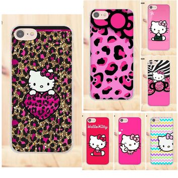TPU Art Online Cover Case Pink Hello Kitty Cat For Apple iPhone X 4 4S 5 5C SE 6 6S 7 8 Plus For LG G4 G5 G6 K4 K7 K8 K10