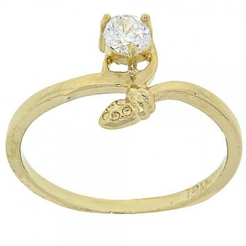 Gold Layered Mult-stone Ring, Snake Design, with Cubic Zirconia, Gold Tone
