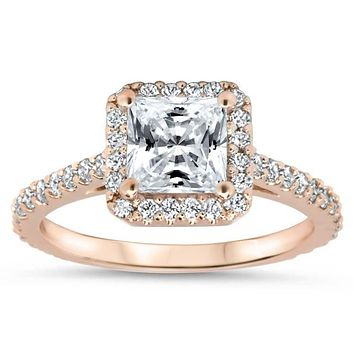 Final Payment REVISED DESIGN Princess Cut Forever One Moissanite and Diamond Halo Engagement Ring Diamond Wedding Band- Prima with Matching Diamond Band