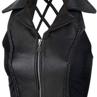 ladies' solid genuine leather vest- medium