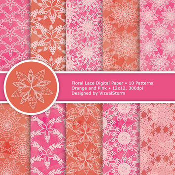Floral Lace Digital Papers - Pink and Orange Watercolor, printable lace flower backgrounds, craft flowers wedding paper, Buy 2 Get 1 Free