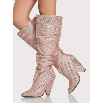 Embellished Glitter Slouchy Booties ROSE GOLD