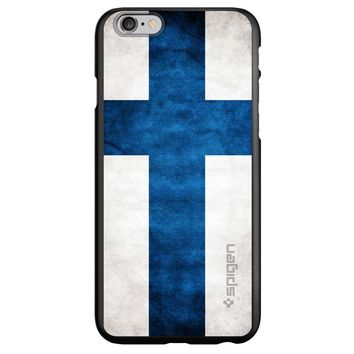 DistinctInk® Spigen ThinFit Case for Apple iPhone or Samsung Galaxy - Finland Old Flag