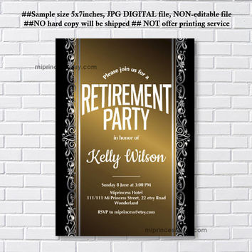 Retirement Invitations,  Retirement party Invitation,  Retirement Celebration  elegant design Invite,  - card 559