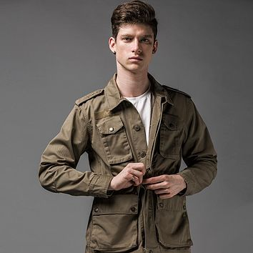 Men Jacket The Expendables  Field Army Jacket Outwear Army Khaki Military Style Jacket Men Casual Coat