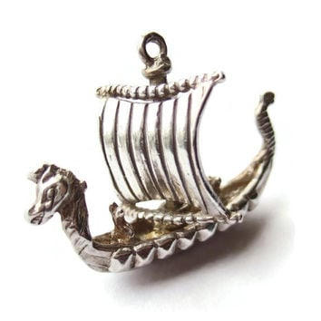 Vintage sterling silver Viking ship charm or pendant, moveable sails. #265.