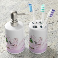 Pink floral blossom ice lotus bathroom set