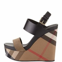 Burberry Nuneaton Check Wedge Sandal, Dark Heather Melange