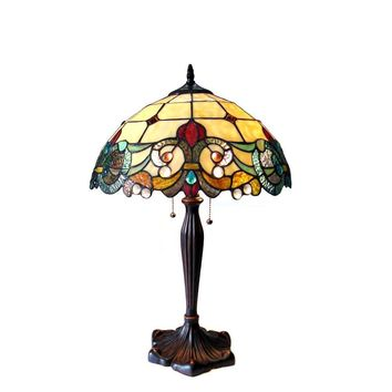 "DULCE Tiffany-style 2 Light Victorian Table Lamp 16"" Shade"