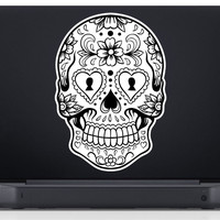 Sugar Skull Version 6 Laptop Vinyl Decal Sticker Art Graphic Sticker Sugarskull Decal Sticker Laptop Car Window