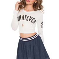 Whatever Long Sleeve Crop Top - White