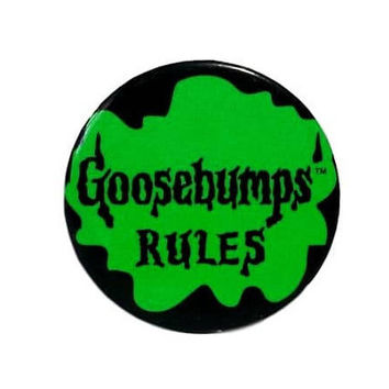 90s Goosebumps Rules Pinback Button Vintage R. L. Stine 1995 Promotional Jean Jacket Vest Metal Pin Black Green Kids Scary Horror Books