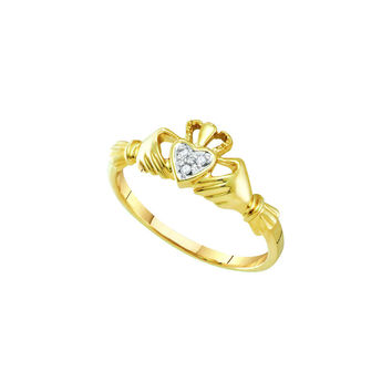 14kt Yellow Gold Womens Round Diamond Dainty Claddagh Heart Ring .01 Cttw 23780