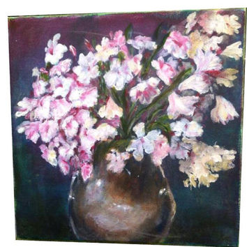 Original oil paintinig Pink flowers blossom Oil on Canvas decorative art by David Ben-Haim