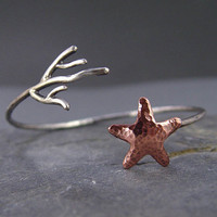 Starfish Coral Cuff Silver and Copper Starfish by HapaGirls