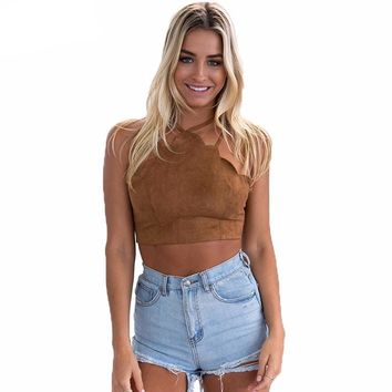 Scalloped Lace Up Halter Suede Crop Tank Top