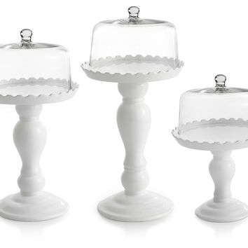 Asst of 3 Domed Cake Pedestals, Cake Stands & Tiered Trays