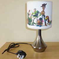 Handcrafted Toy story bedside lamp / lamp shade & base ~ boys bedroom