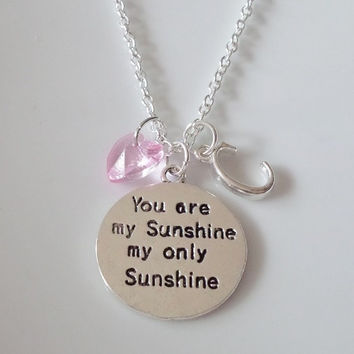 You are my Sunshine necklace, Hand stamped necklace, Personalized jewelry, Initial necklace,  Birthstone necklace,
