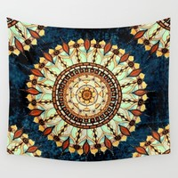 Sketched Mandala - Blue Textured Background Wall Tapestry by Inspired Images