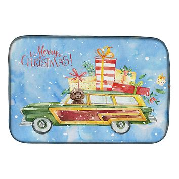 Merry Christmas Brown Cockapoo Dish Drying Mat CK2446DDM