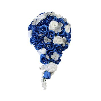 Keepsake Cascade Bouquet-Horizon Royal Blue, White, Silver Grey Silk Flower Teardrop Bouquet