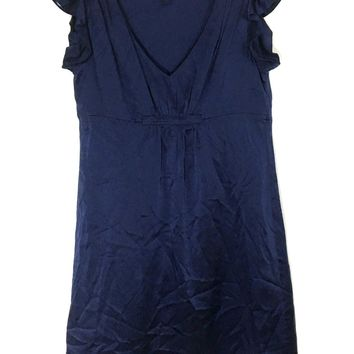Betsey Johnson Silk Little Blue Dress Pleated V Neck Flutter Ruched Womens 4 - Preowned