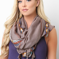 Mixed Print Dangling Tassel Scarf
