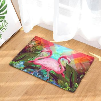 Autumn Fall welcome door mat doormat Dustproof Welcome Home Entrance s Pink Double Flamingo Pattern Carpets Anti Slip Waterproof Bathroom Rugs Decor AT_76_7