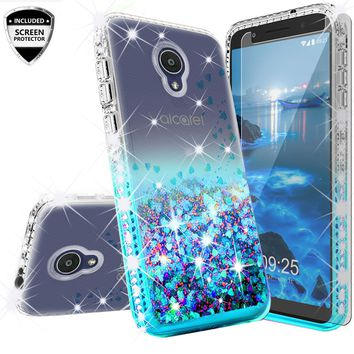 Alcatel 1x Evolve Case Liquid Glitter Phone Case Waterfall Floating Quicksand Bling Sparkle Cute Protective Girls Women Cover for 1x Evolve - Teal