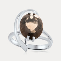 925 Silver Ring with Smoky Quartz