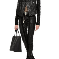 Denim and Leather Biker Jacket With Oversized Collar by Rick Owens DRKSHDW - Moda Operandi