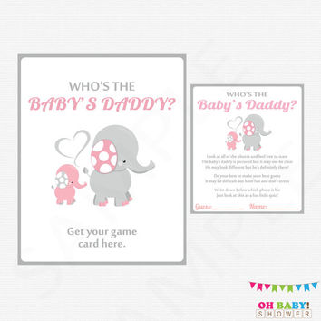 Who's the Baby's Daddy Baby Shower Game, Elephant Baby Shower Girl Pink and Gray Printable Instant Download Pink Elephant Baby EL0005-lp