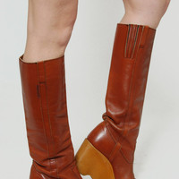 Vintage 70s FAMOLARE Boots Caramel Tall Leather Boho Boots Wavy PLATFORM Wedge Size 6.5 Italian Leather Boots