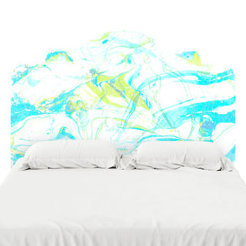 Pale Marble in Blue Headboard Decal