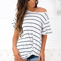What Now Striped Knot Top (Navy)