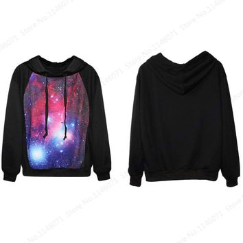 Red Space Galaxy Hooded Hoodies Starry Sky Skateboarding Sweatshirts LYPHARD MELODY Leisure Loose Tracksuits Sportsuits Feminino