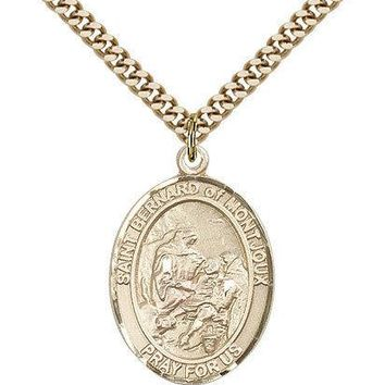 "Saint Bernard Of Montjoux Medal For Men - Gold Filled Necklace On 24"" Chain -... 617759189230"