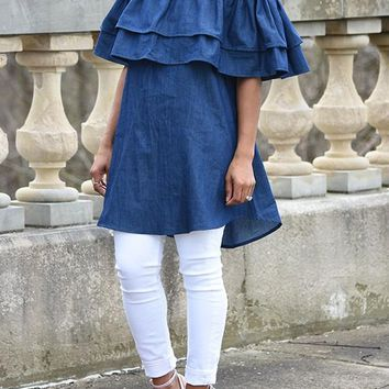 Denim Blue Plain Double-deck Ruffle Off-Shoulder Cute Teens Jean Mini Dress