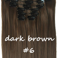 "22"" Full Head Clip In Hair Extensions Straight (8 Wefts / 6 Dark Ash Brown)"
