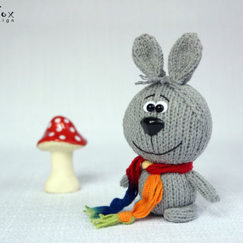 Hand knit rabbit, knitted bunny, stuffed rabbit, hare, mother's day gift, woodland, hand knit toy - Woody the Rabbit