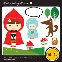 Red Riding HoodF002Clipart Set for cards stationary by StoryBee