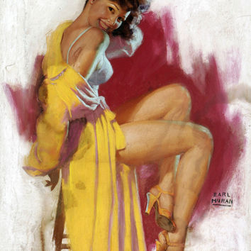 Pin-Up Girl Wall Decal Poster Sticker - Girl with Yellow Robe - Brunette Pinup Pin Up