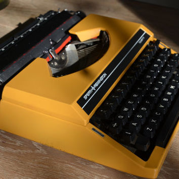 Working Typewriter - Sunflower YELLOW Sperry Remington Ten Fifty - Working Perfectly